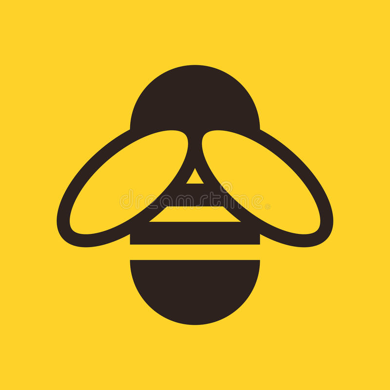 Bee icon. On yellow background royalty free illustration