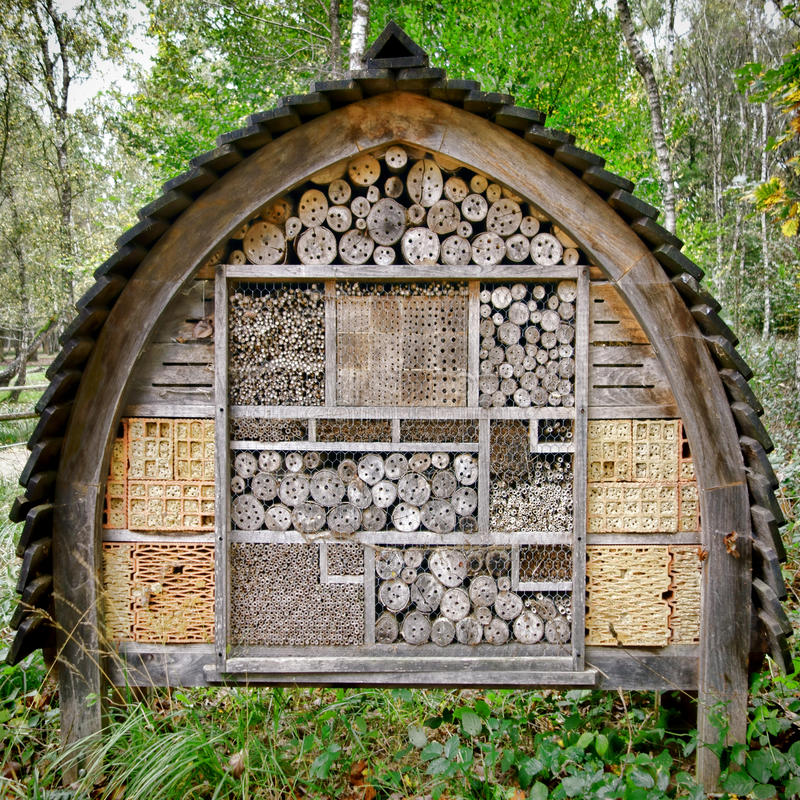 Bee and Insect Nesting Box Tree House Complex stock photos