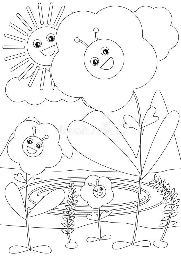 Bee Inside Flower Coloring_eps vector illustration