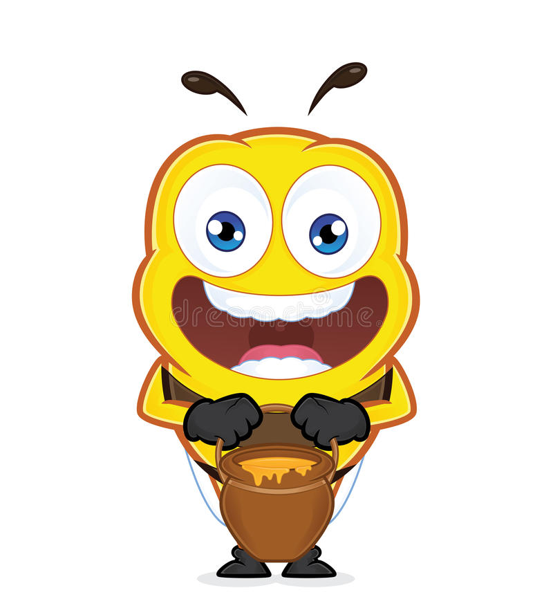 Bee with a jar of honey stock illustration