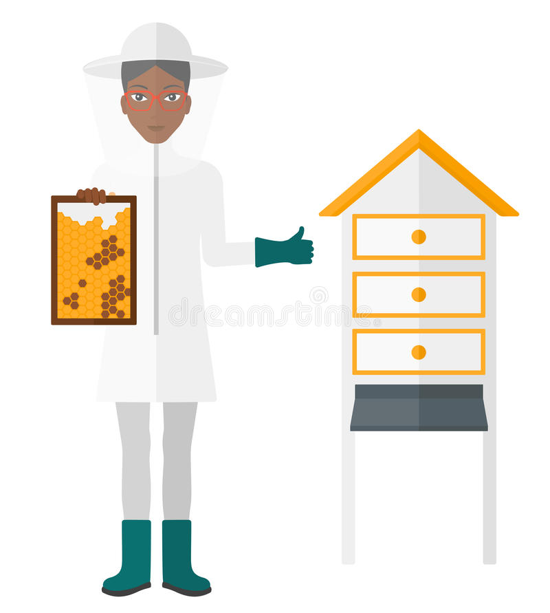 Bee-keeper at apiary royalty free illustration