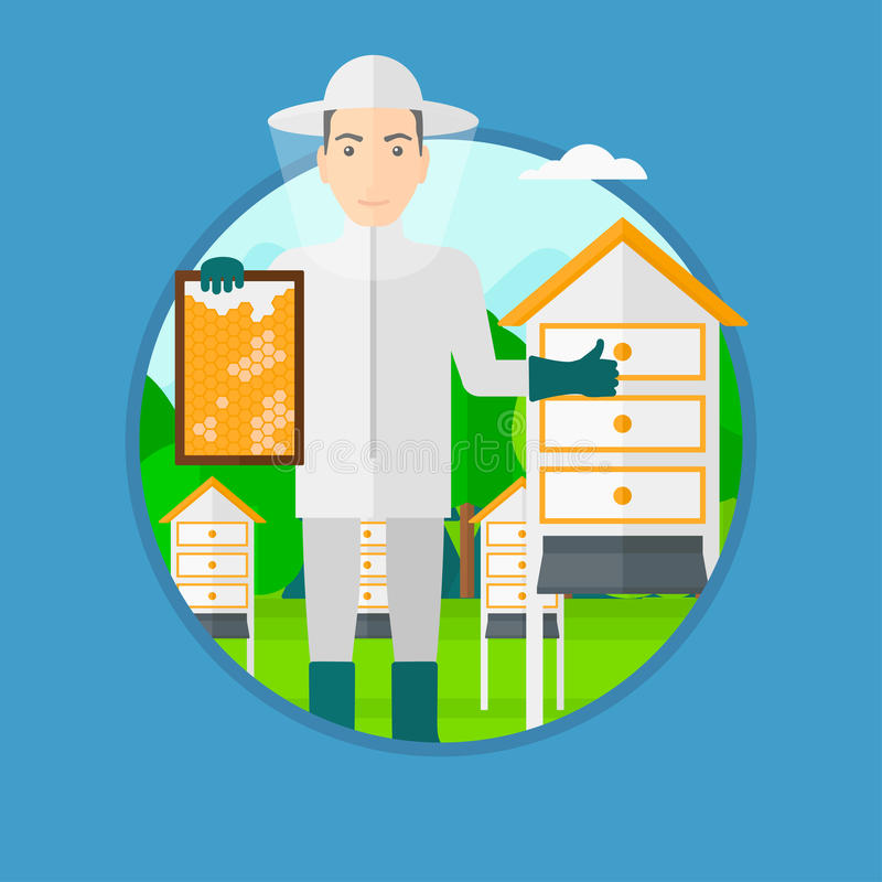 Bee-keeper at apiary. A man wearing protective suit holding a framework in hand and showing thumb up while standing at apiary. Vector flat design illustration stock illustration