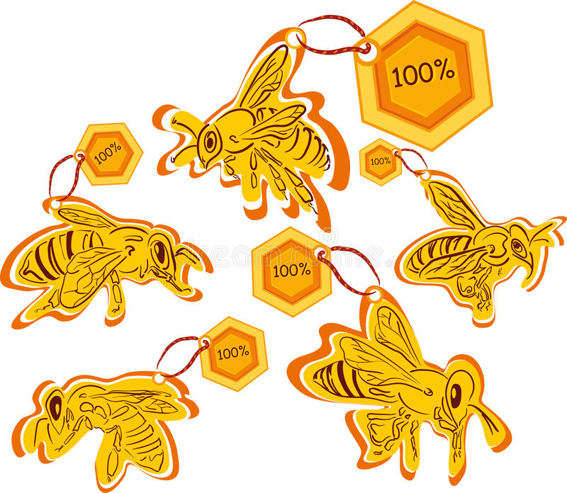 Download Bee Labels Of High Quality Product Stock Vector - Illustration of golden, vitamin: 26098685