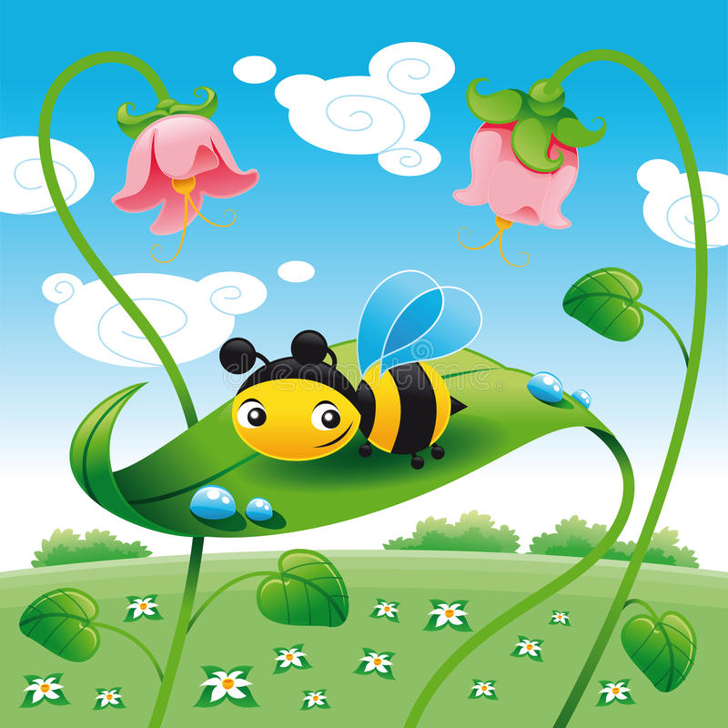 Download Bee on the leaf stock vector. Image of landscape, baby - 9732892