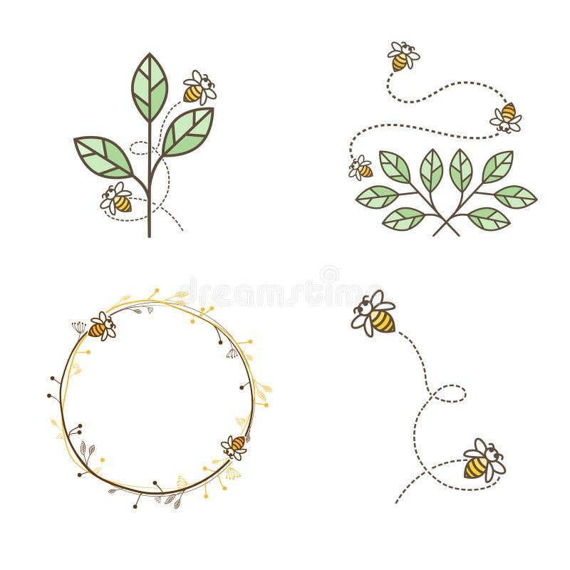 Bee Logo Design Set stock illustration