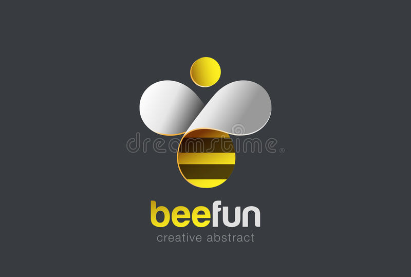 Bee Logo design vector. Hive icon. Creative character Logotype stock illustration