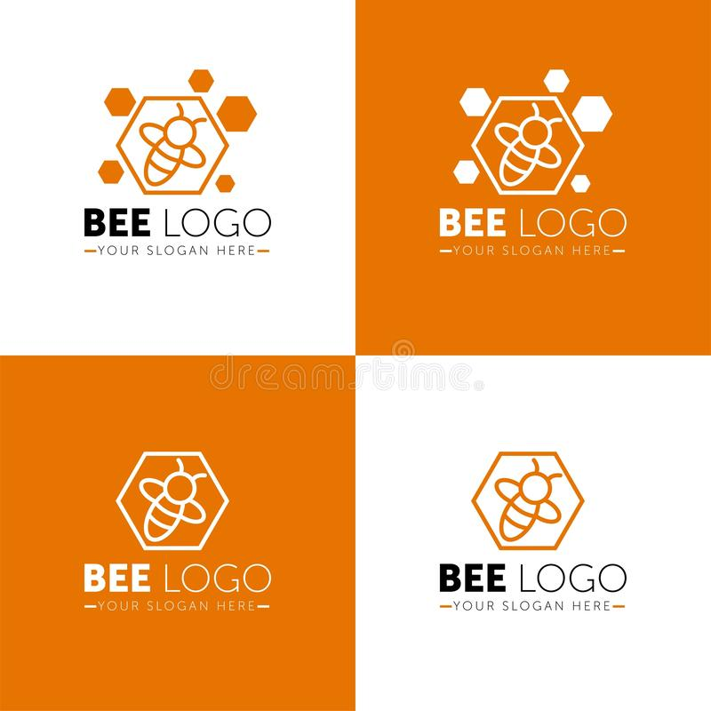 Bee Logo design vector template linear geometric style. Bug Logotype concept creative funny icon. royalty free illustration