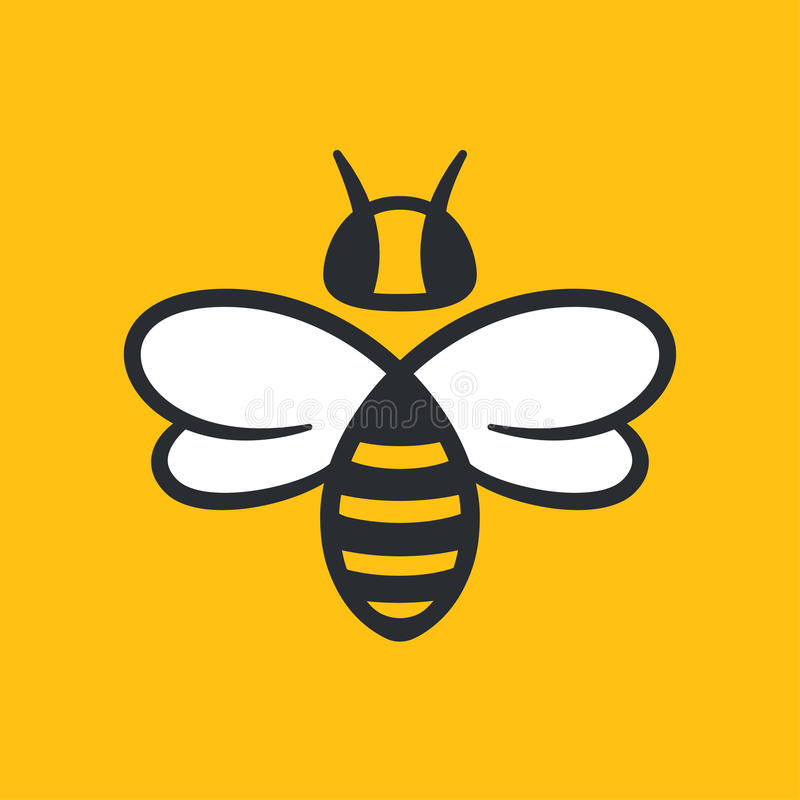 Bee Logo design. Bee or wasp logo design vector illustration. Simple stylized icon in flat cartoon style stock illustration