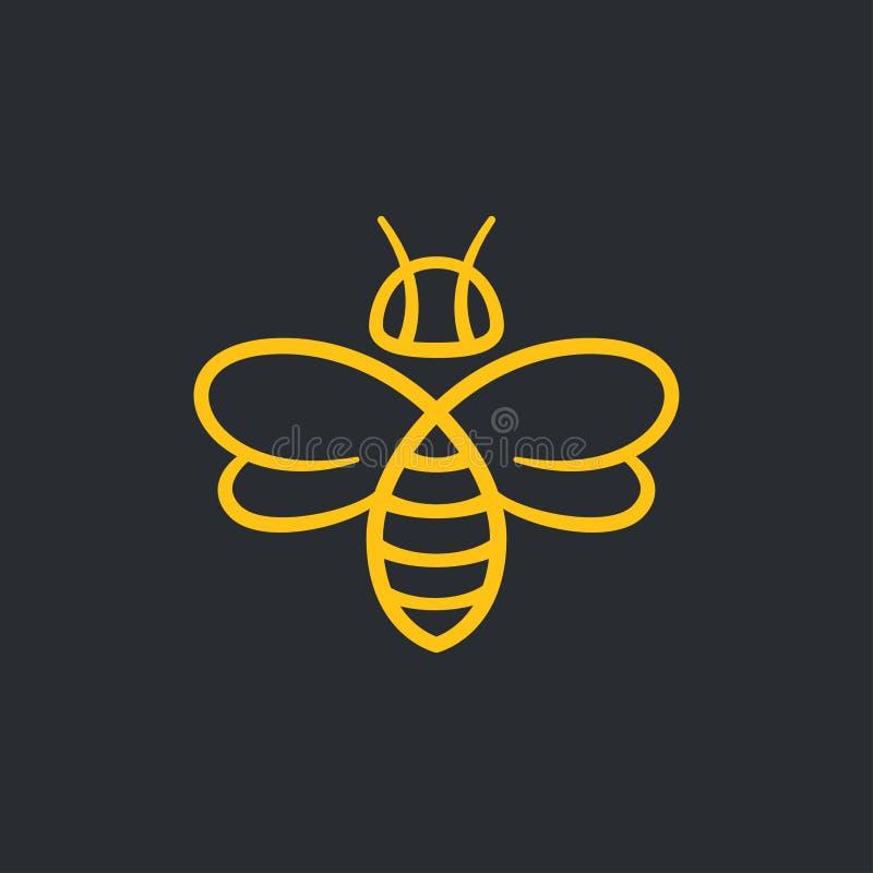 Bee Logo design. Bee or wasp logo design vector illustration. Stylish minimal line icon royalty free illustration