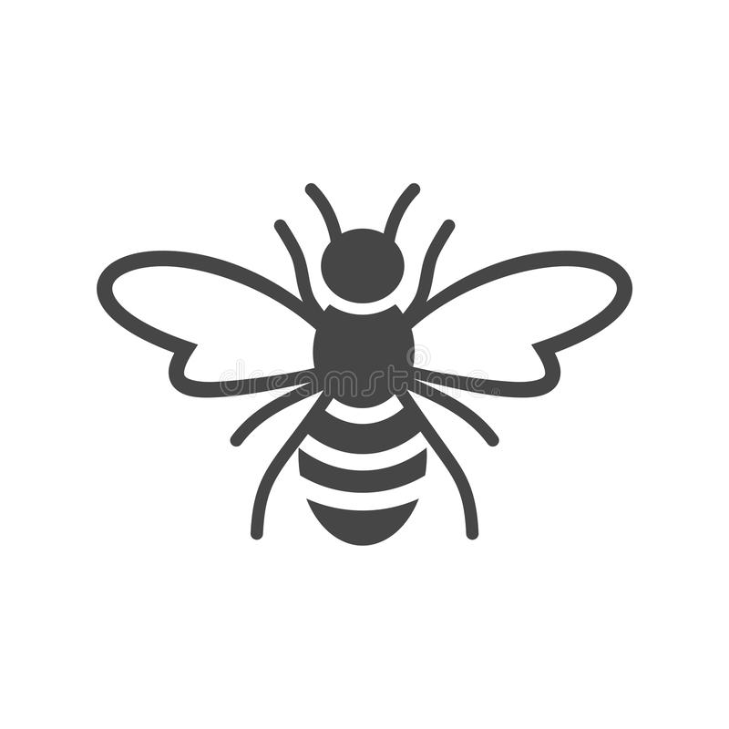 Bee Logo Sign Icon. Vector icon royalty free illustration