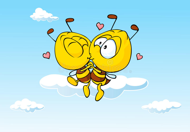 Bee in love kissing - cute illustration. Of insect lovers royalty free illustration