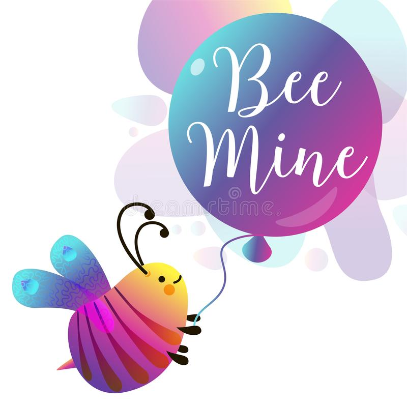 Bee mine card. Colorful geometric shapes. Love royalty free illustration