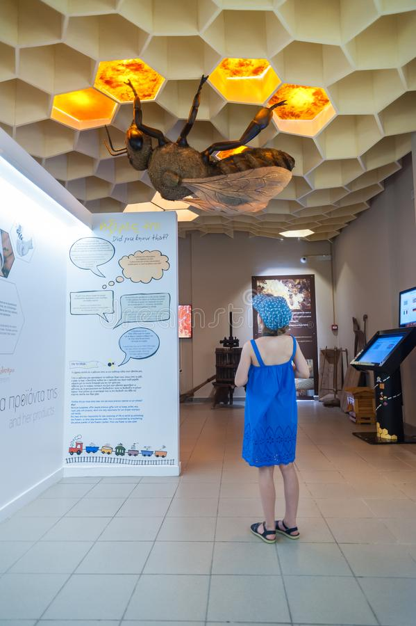 Bee Museum in Pastida Village. Greece. 30/05/2018. 6 years old girl is learning about secret life of bees. Island of Rhodes. stock photos