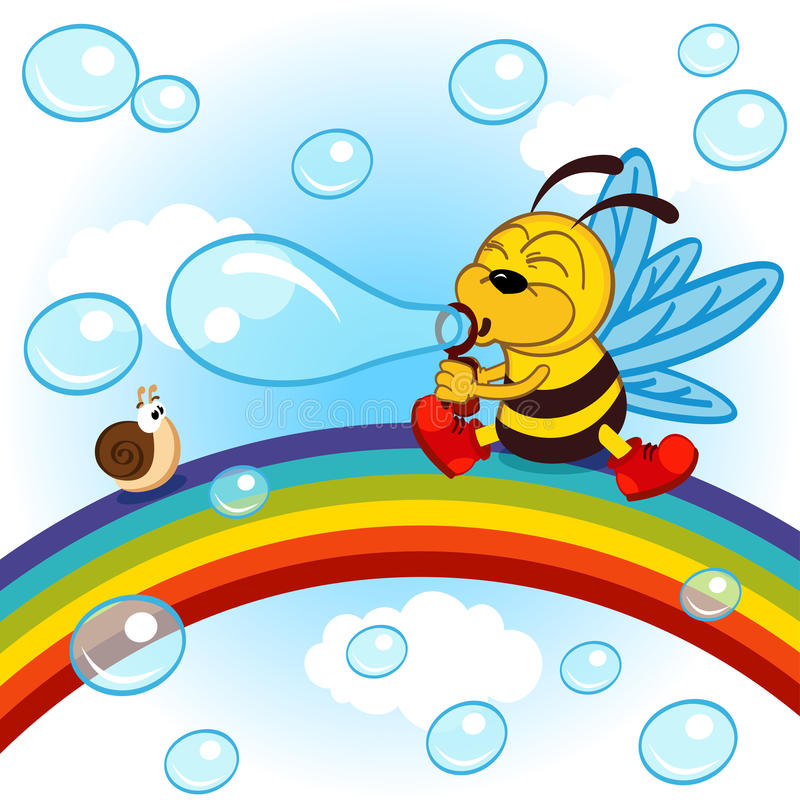Free Bee On Rainbow Inflated Bubbles Royalty Free Stock Images - 60014329