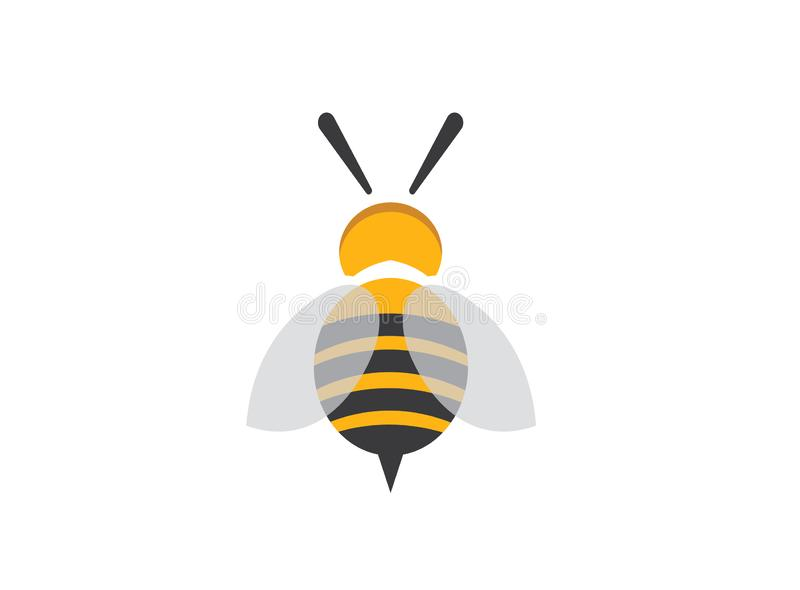 Bee open wings and fly for logo design vector royalty free illustration