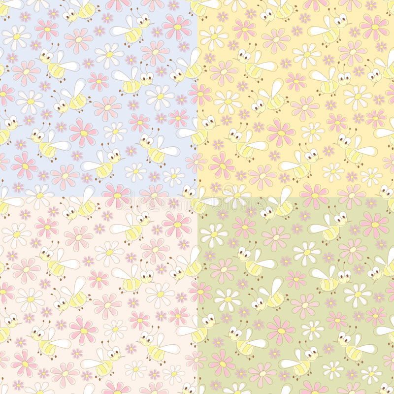 Bee patterns vector illustration