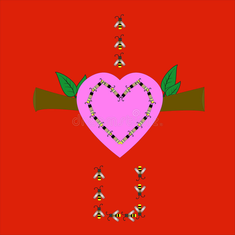 Bee and pink heart royalty free stock image