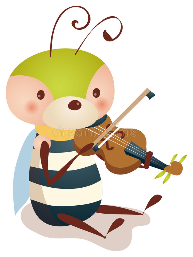 Bee playing violin. Illustration drawing of a lovely bee playing violin vector illustration