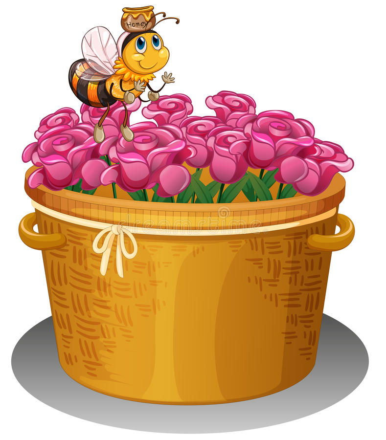 A bee with a pot of honey flying above the basket with flowers vector illustration