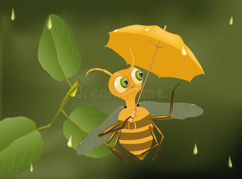 Bee and a rain vector illustration