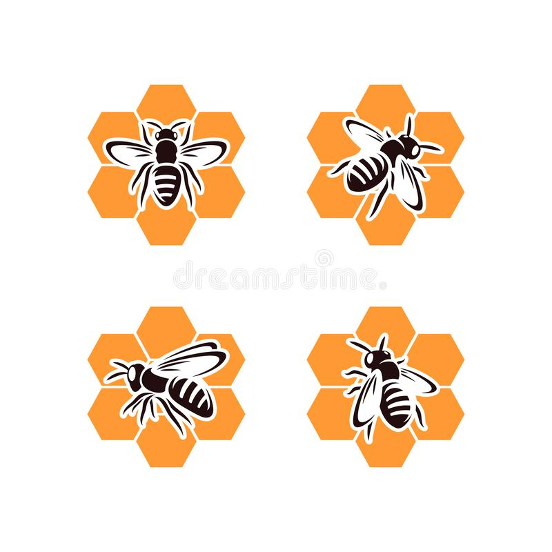 Bee set. Collection icon bee. Vector stock illustration