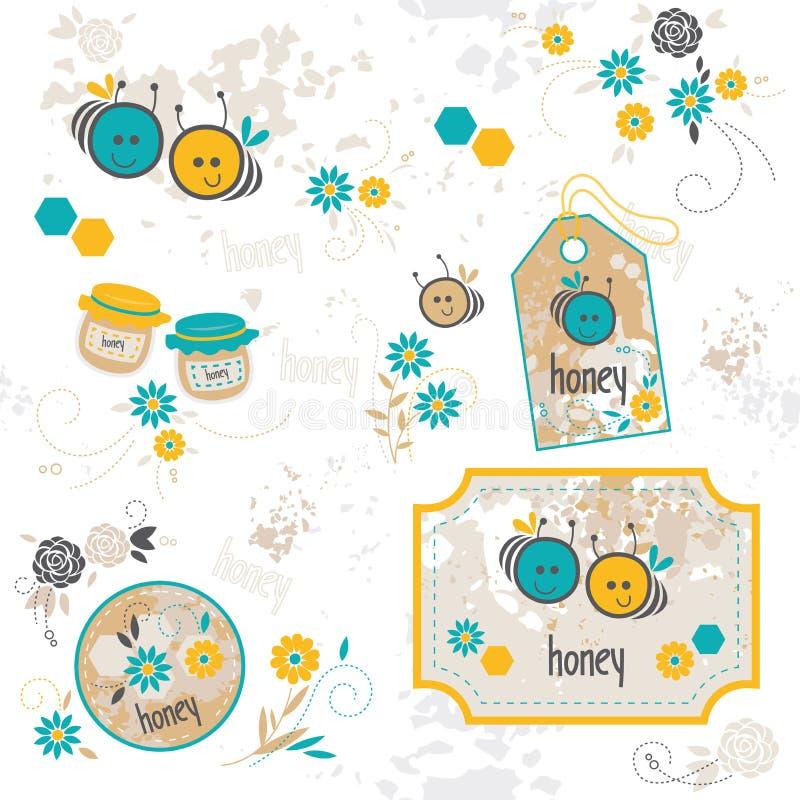 Bee, set of illustrations royalty free illustration