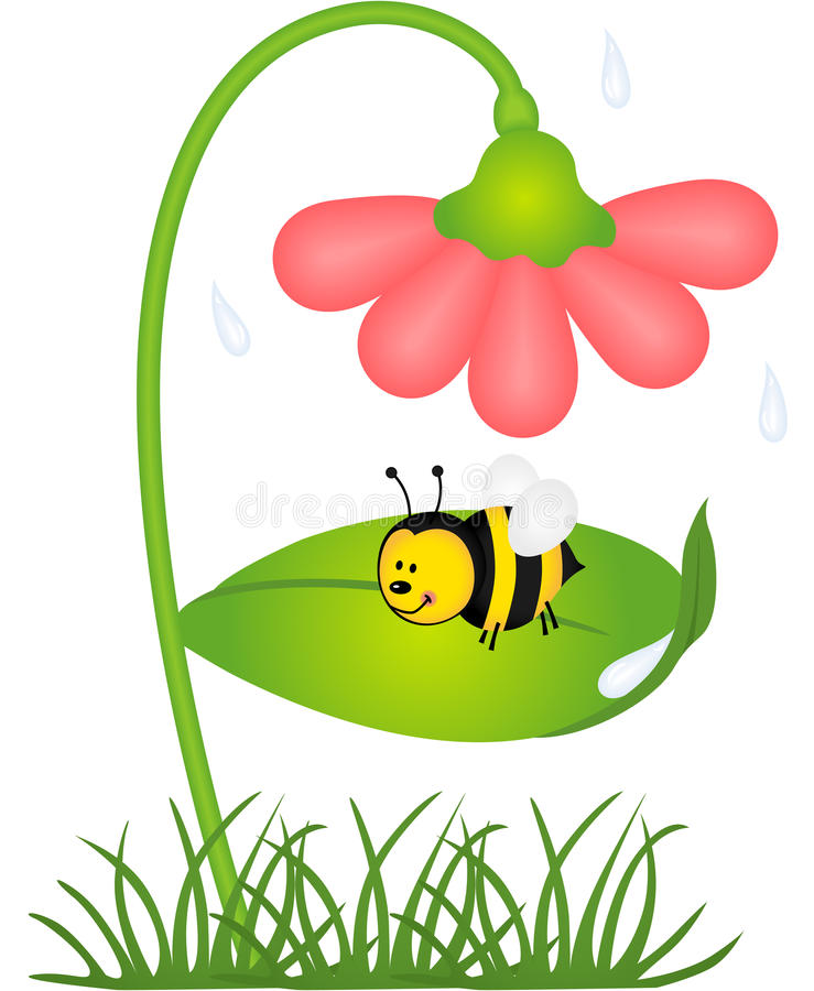 Download Bee Is Sheltered From Rain Under A Flower Stock Vector - Image: 30893105