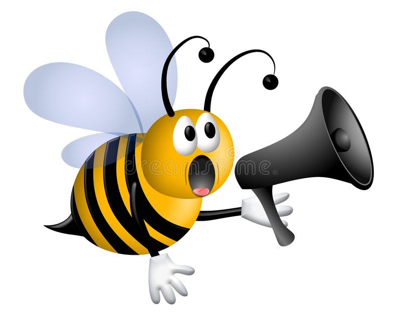 Bee Shouting Into Megaphone vector illustration