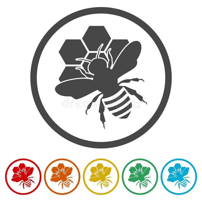 Free Bee Silhouette Icon, 6 Colors Included Stock Photo - 109069300