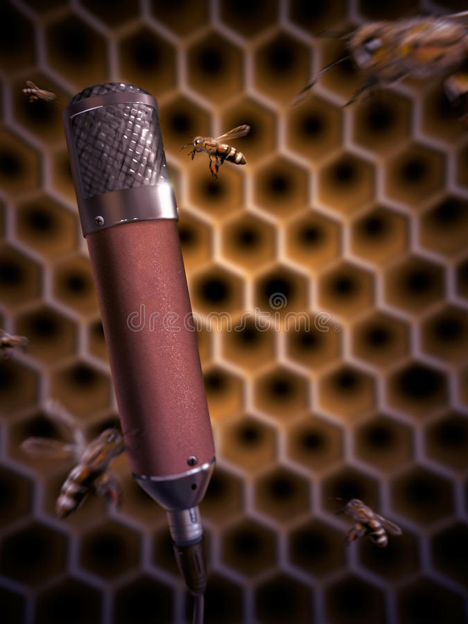 Download Bee Singing Into A Microphone - Digital Painting Stock Illustration - Image: 27028819