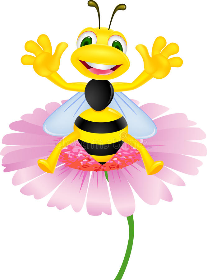 Download Bee sitting on flower stock vector. Image of background - 20783457