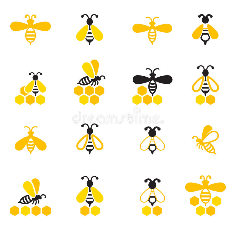 Bee sitting on a honeycomb. vector illustration