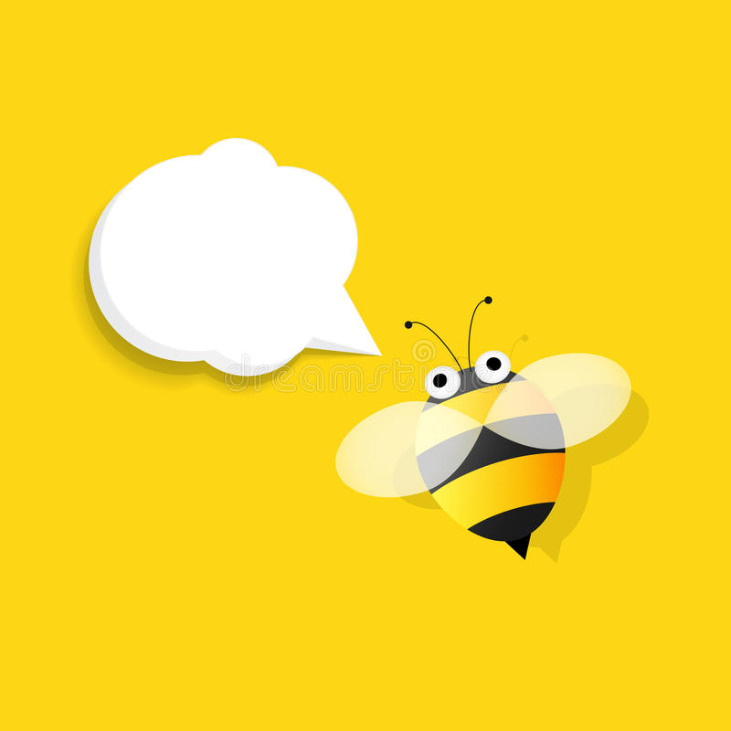 Bee with speech bubble vector illustration