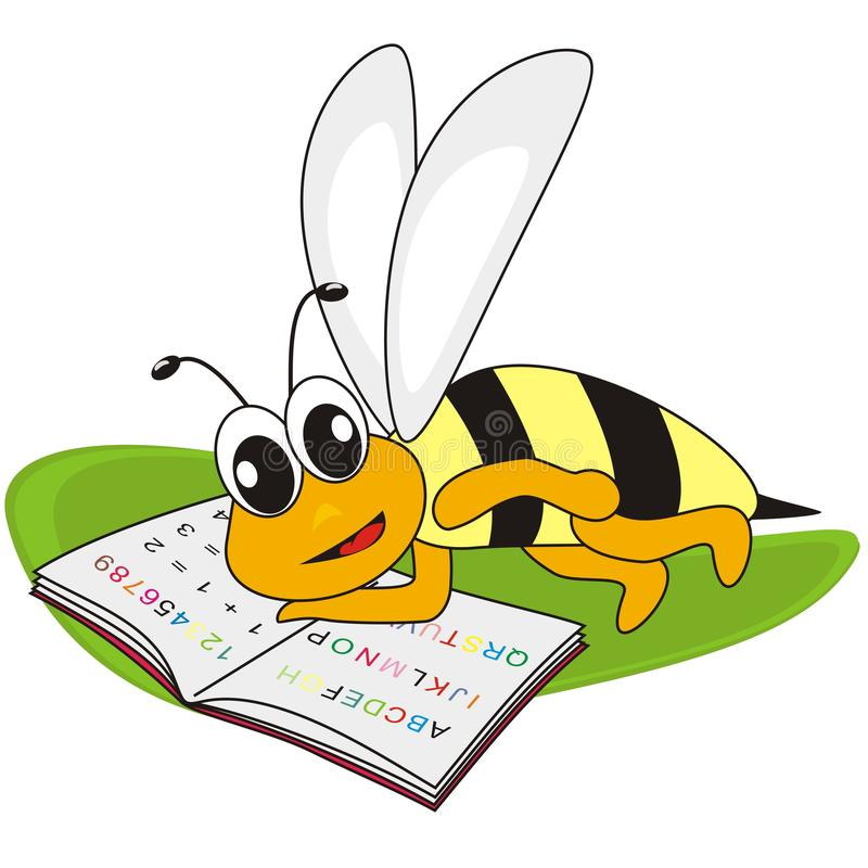 Bee and spelling book, vector humorous illustration. A bee lies next to a book on a green leaf royalty free illustration
