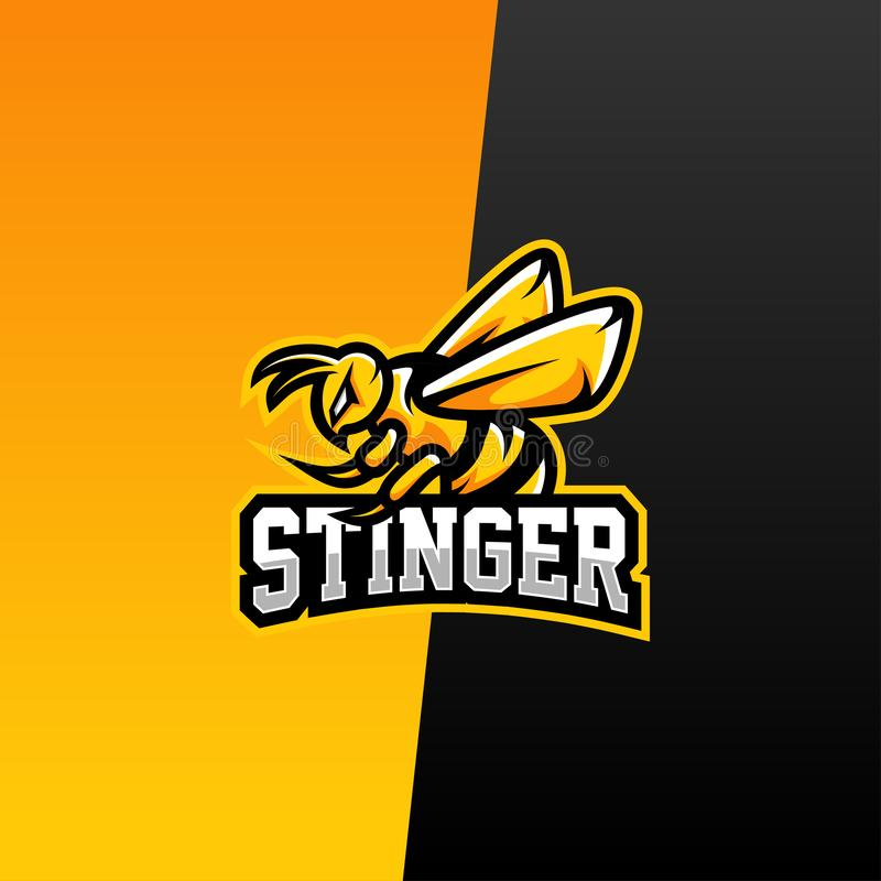Bee sport Logo Vector Design Template för team vektor illustrationer