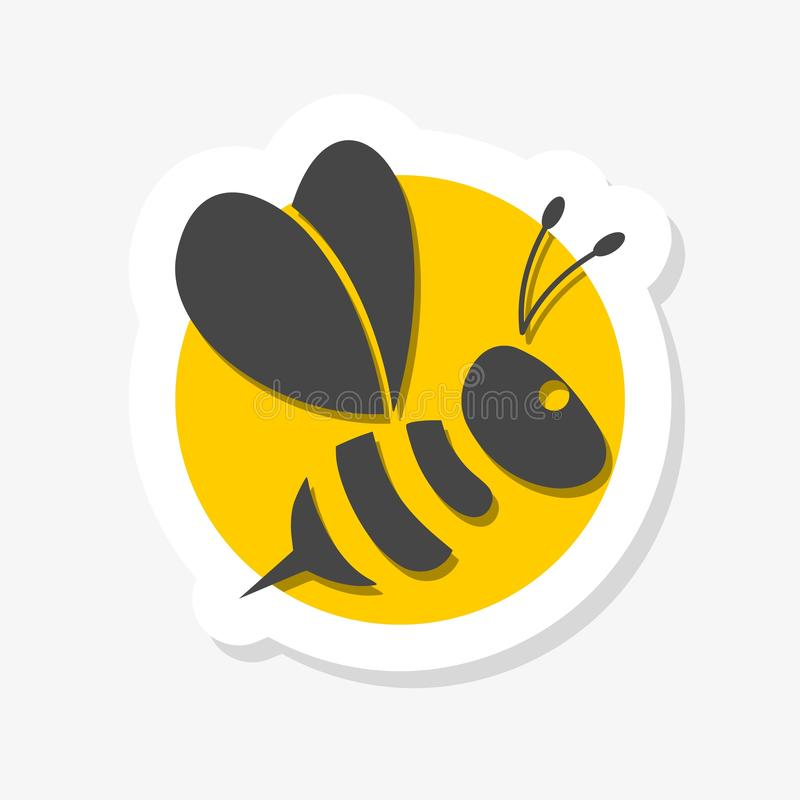 Bee sticker icon isolated on white background vector illustration