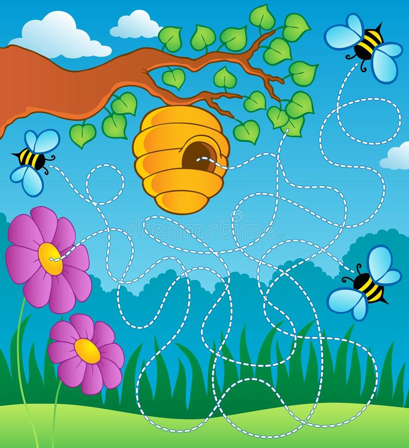 Download Bee theme maze stock vector. Illustration of flower, cartoon - 25558754