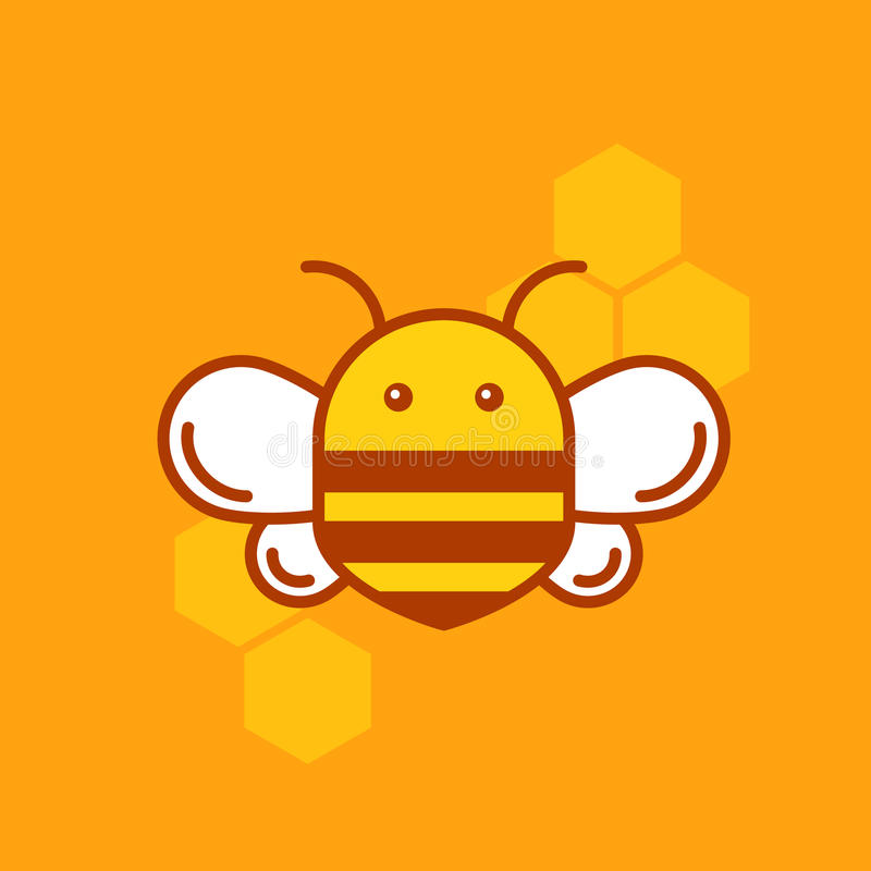 Bee thin lined icon. Bumblebee logotype design. stock illustration