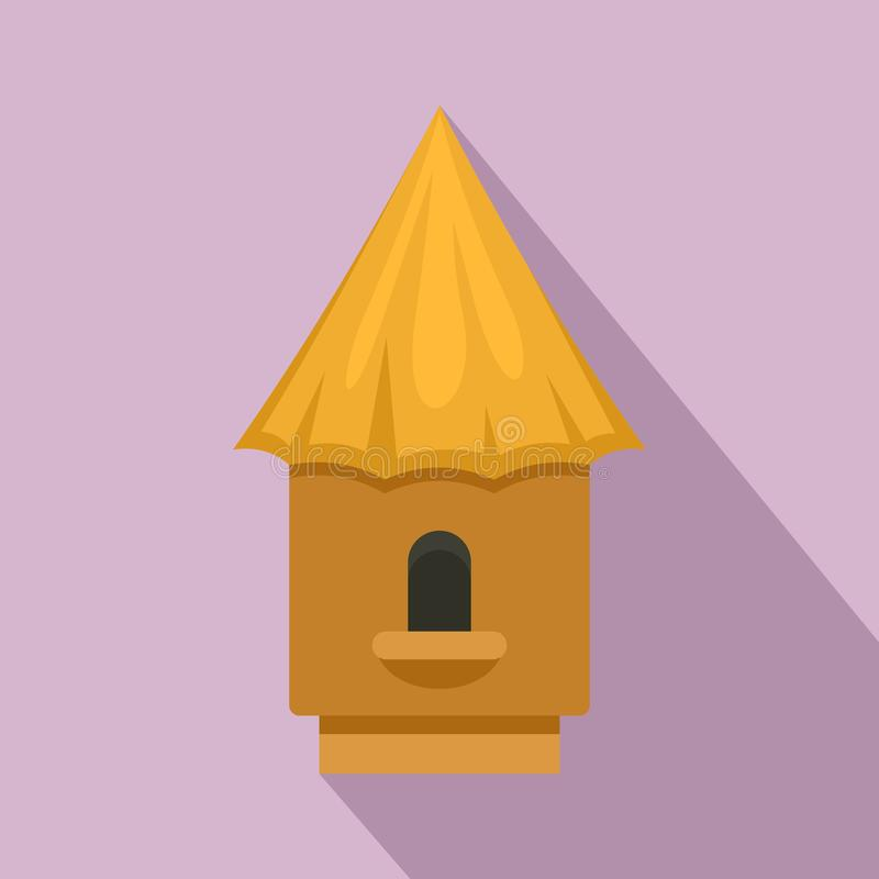 Bee tree house icon, flat style royalty free illustration
