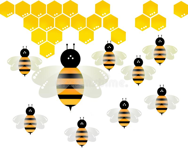 Bee vector on white background royalty free stock photography