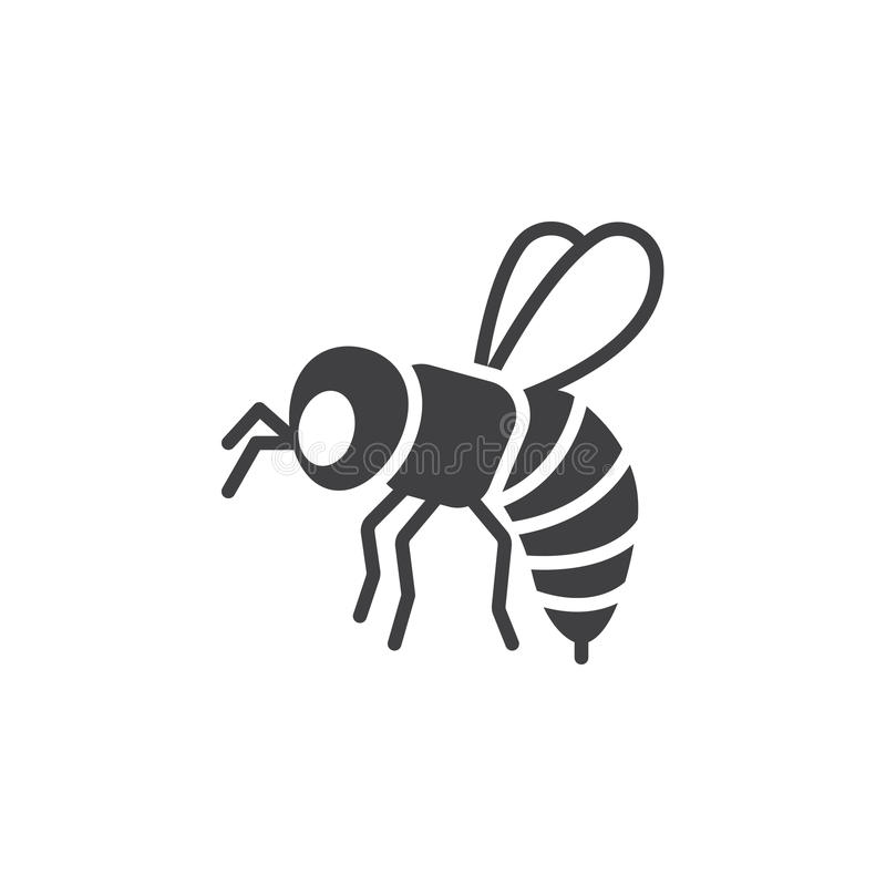 Bee, wasp icon vector, filled flat sign stock illustration