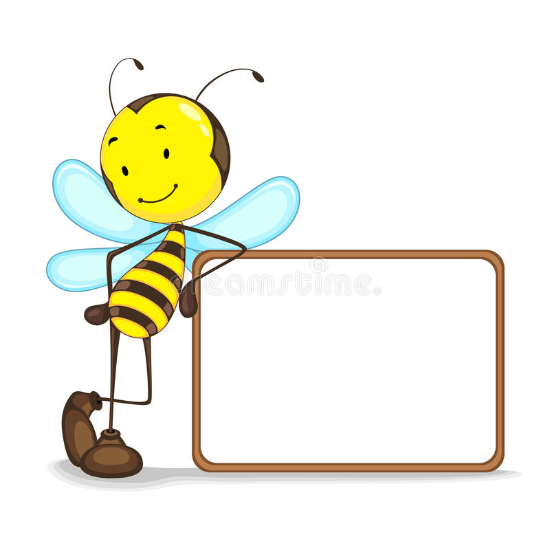 Free Bee With Blank Board Royalty Free Stock Photography - 25677847