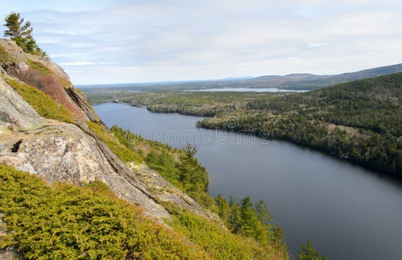 Beech Mountain overlook of Echo Lake. In Acadia National Park stock photos
