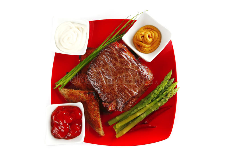 Download Beef bbq on red stock image. Image of beef, dinner, ketchup - 14723899