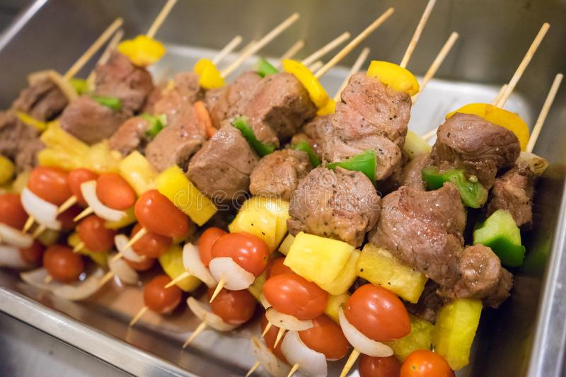Beef bbq on the sticks royalty free stock image