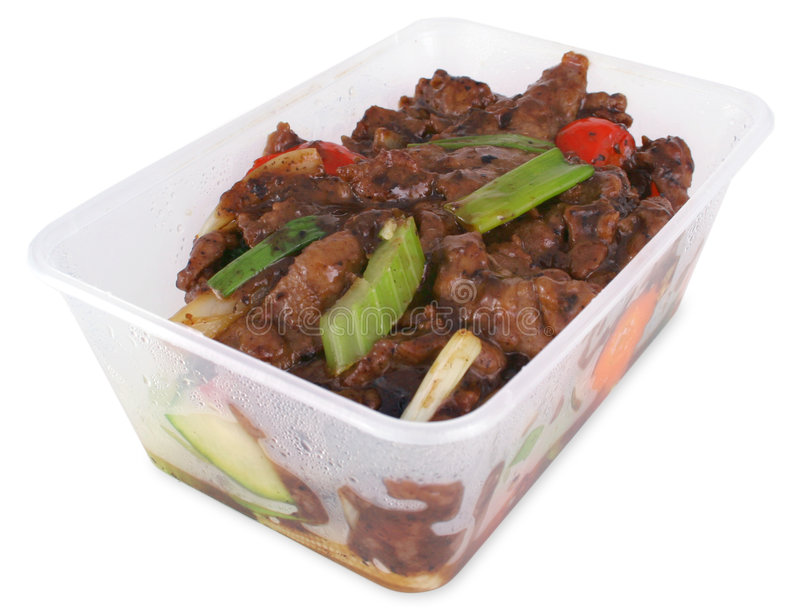 Beef and black bean take out with clipping path royalty free stock images