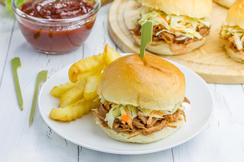 Beef brisket sliders. On a white plate stock image