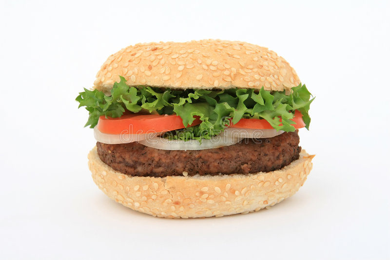 Download Beef burger over white stock photo. Image of healthy, food - 1070340
