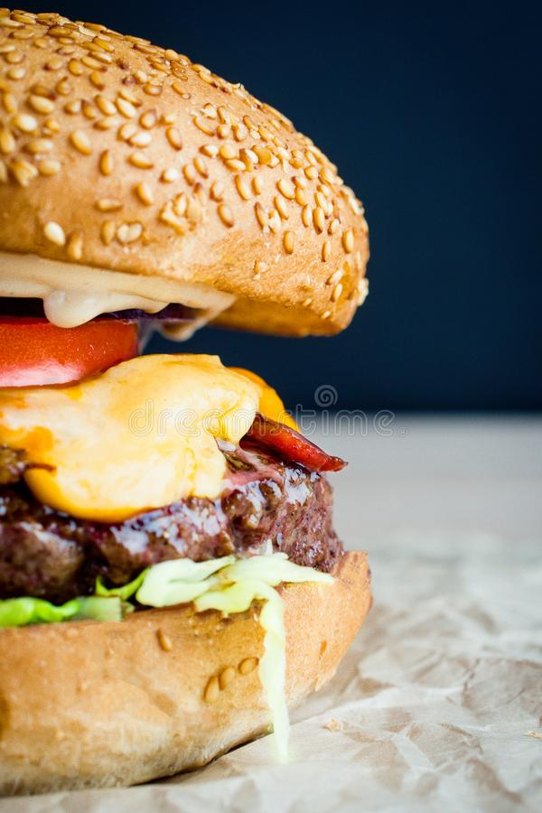 Beef burger with tomato, salad, onion, pepers and cheese stock photo
