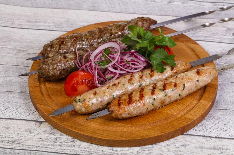 Beef and chicken kebab stock images